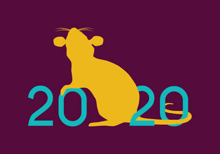 Happy Chinese New Year 2020 year of the Rat vector illustration yellow silhouette