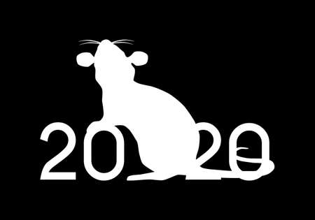 Happy Chinese New Year 2020 year of the Rat vector illustration black and white silhouette