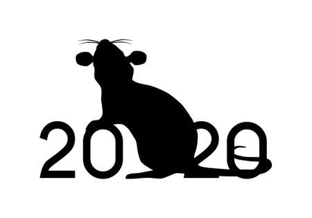 Happy Chinese New Year 2020 year of the Rat vector illustration black silhouette