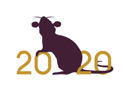 Happy Chinese New Year 2020 year of the Rat vector illustration golden and purple silhouette