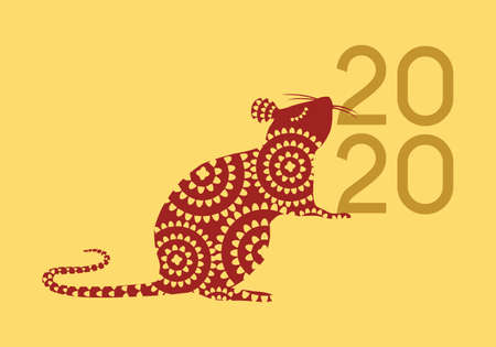 Happy Chinese New Year 2020 year of the Rat vector illustration in red and gold color palette
