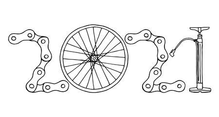 2021 Bicycle Happy New Year vector card illustration on white background Фото со стока - 157788670