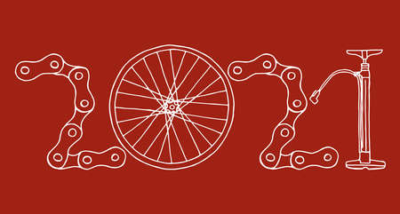 2021 Bicycle Happy New Year vector card illustration on red background