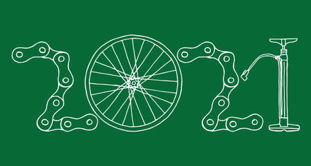 2021 Bicycle Happy New Year vector card illustration on green background Иллюстрация