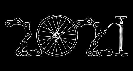 2021 Bicycle Happy New Year vector card illustration on black background