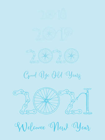2021 Bicycle Happy New Year welcome vector card illustration on baby blue background