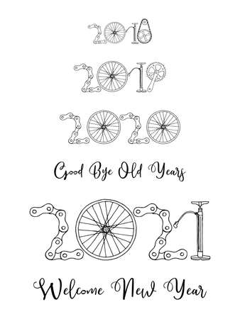 2021 Bicycle Happy New Year welcome vector card illustration on white background
