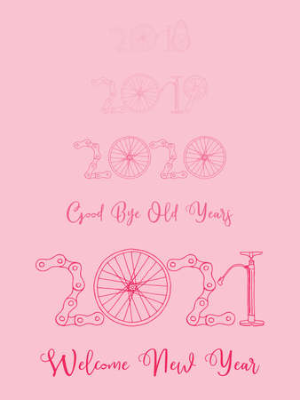 2021 Bicycle Happy New Year welcome vector card illustration on pink background