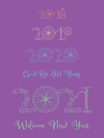 2021 Bicycle Happy New Year welcome vector card illustration on purple background Иллюстрация