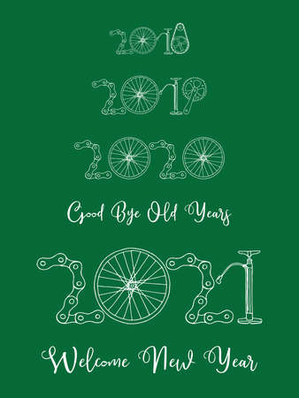 2021 Bicycle Happy New Year welcome vector card illustration on green background