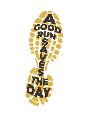 A Good Run Saves The Day Yellow shoe print Фото со стока - 158503841