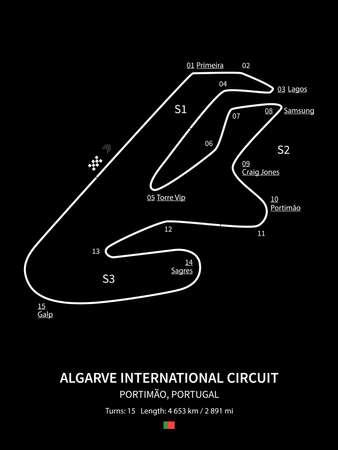 Algarve International Circuit, Portimão, Portugal on black background