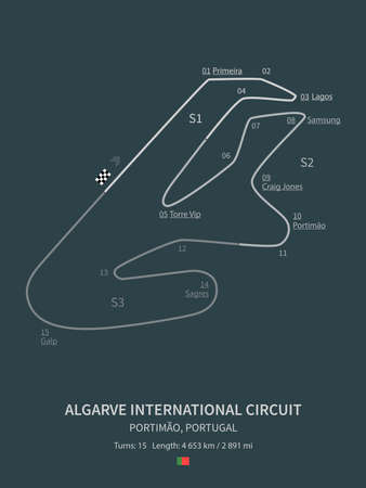 Algarve International Circuit, Portimão, Portugal on teal background