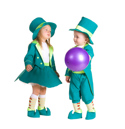 Children in costumes leprechaun, St. Patricks Day, isolated on white background photo