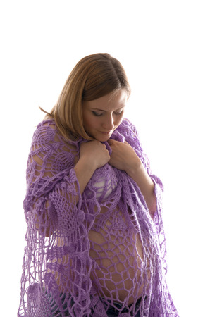 the anticipation: Gentle pregnant in the knitted lace dress, in anticipation of