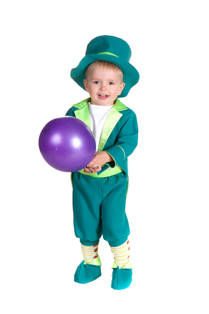 Child in costumes leprechaun, St. Patricks Day, isolated on white background photo