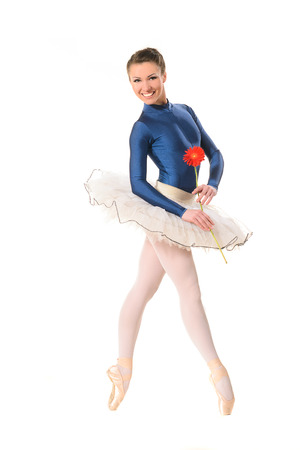 Ballet dancer in blue leotard and white tutu photo