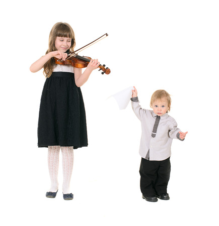 violinist playing the violin. photo session in studio on white background photo