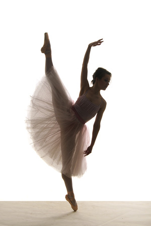 silhouette of ballerina in tutu on white  photo