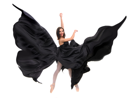 ballet female dancer in black satin photo
