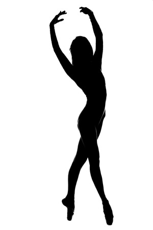 svelte: black silhouette of svelte ballet female dancer on tiptoe isolated on white background
