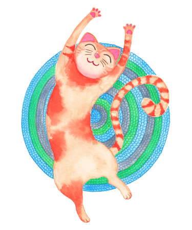 Red stretching cat on the colorful carpet. Watercolor illustration. Фото со стока