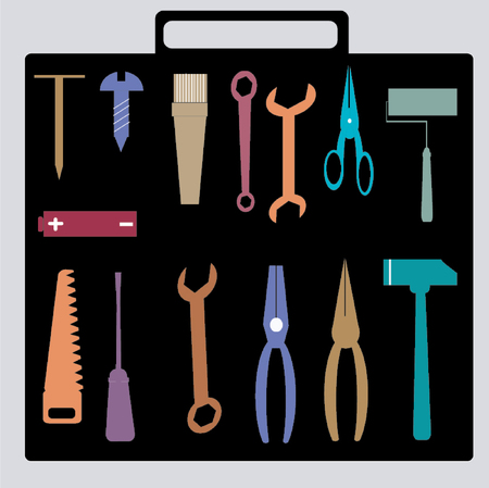 electric broom: Tools set.Illustration of different kind of tools
