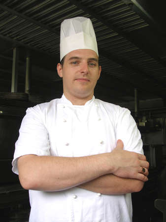 Chef is posing for the camera during a break Stock Photo