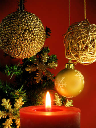 Christmas decoration with a red candle