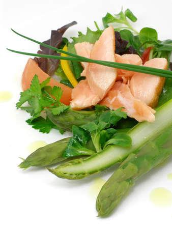 Salad of asparagus iand salmon with vegetables
