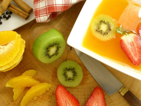 Orange soup with spices preparation