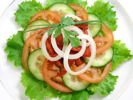 Salad of chicken with tandoori spices and yogurt sauce Stock Photo
