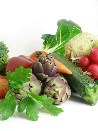 A cornucopia of vegetables coming from the market       Stock Photo