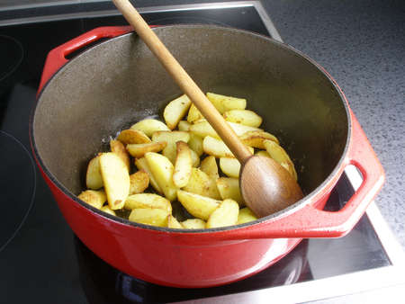 Sauteed potatoes in a dutch oven