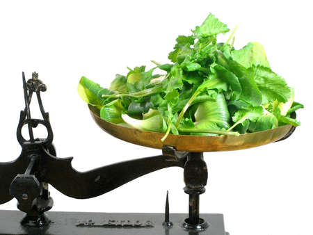 Green salads and rocket on a scale tray