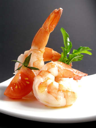 Yummi prawns apetizer in a plate
