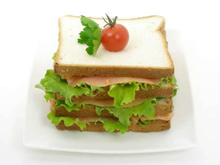 Sort of smoked salmon club sandwich