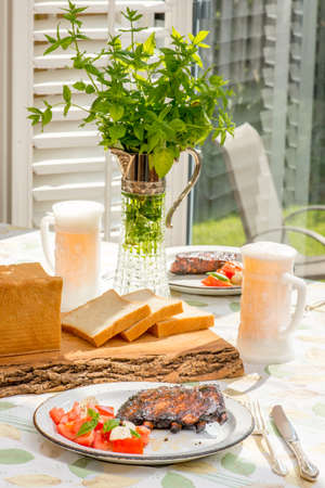 frazzled: Summer time fun - Barbecue party table.  Vintage style tablescape.