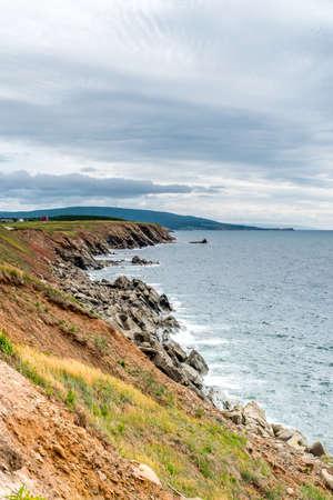 nova: The rocky shoreline of Highlands National Park, Cape Breton, Nova Scotia, Canada Stock Photo