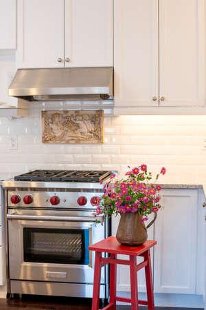 rang: Gas range and rang hood in a new kitchen Stock Photo