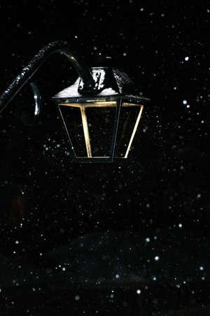 heavy snow: Closeup of street light in heavy snow at night Stock Photo