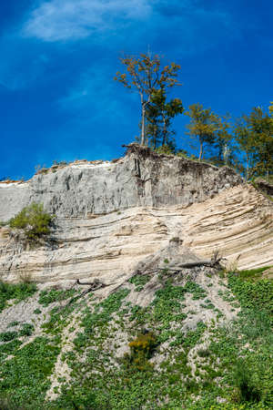 eroded: Soil erosion on lake shores. Lake Ontario, Canada.