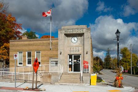 pioneers: MILLBROOK, CANADA - OCTOBER 9: The old Post Office of Millbrook, previously a settlement of Irish settlers, United Empire Loyalists, War of 1812 veterans. On OCT 9, 2016 in Millbrook, Ontario, Canada
