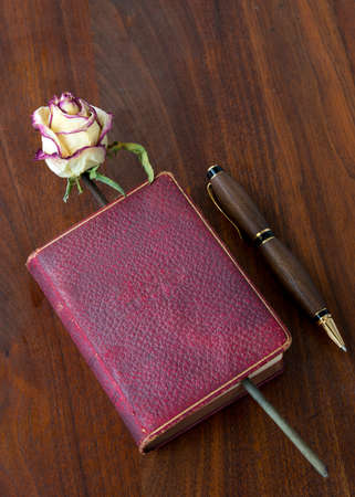 ambient light: Love books, love reading. An antique lambskin covered poetry book published in 1885, in ambient light, on antique walnut table. Dried rose as bookmark. Hand crafted pen on the side. Stock Photo