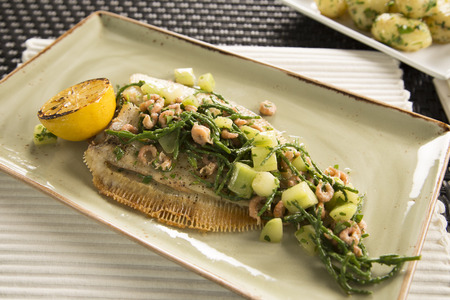 Lemon sole with shrimps, cucumber, samphire & lemon