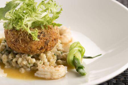 pearl barley: Langoustines, Pork belly beignet, pearl barley & shellfish butter