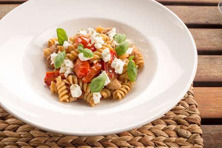 fennel seeds: Fusilli with Italian sausage, ricotta, San Marzano tomatoes, chilli & fennel seeds Stock Photo