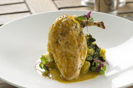 sag: Curried corn fed chicken with sag aloo