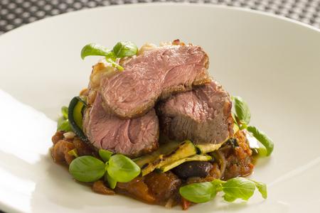 Lamb Rump, Borlotti beans Stock Photo