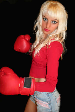 pretty woman with boxing gloves photo